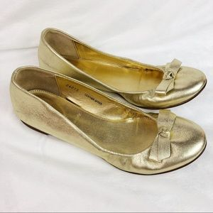 J. Crew Gold Leather Ballet Flats